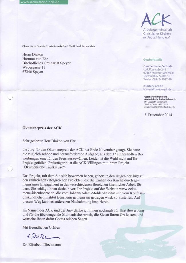Ökumenepreis ACK-Absage